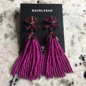 BAUBLEBAR Purple Flower beaded costume earrings